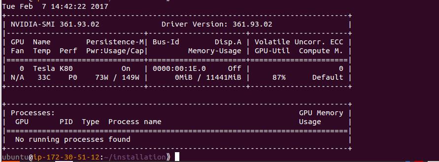 Image showing output of nvidia-smi